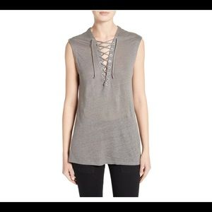 IRO tank with tie embellished cross tie front